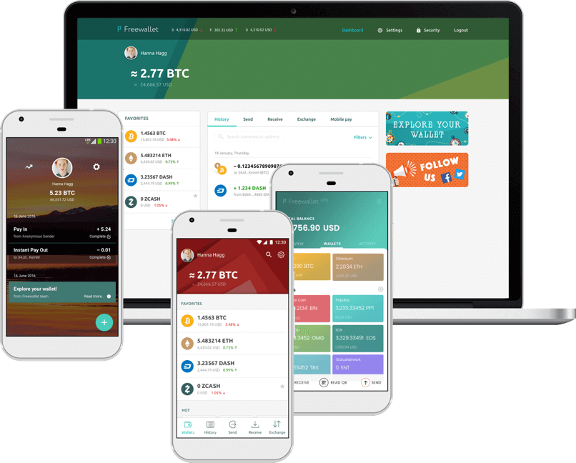 Freewallet apps family